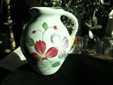 LOVELY DECO HANDPAINTED LARGE JUG RADFORD PALE GREEN GROUND CERISE LILAC PETALS